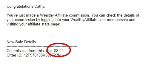 My First Affiliate Commission from Wealthy Affiliate