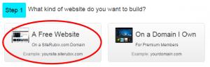 SiteRubix Step 1 - Choose a Website Step 1