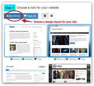SiteRubix Step 3 - Choose a WordPress Theme