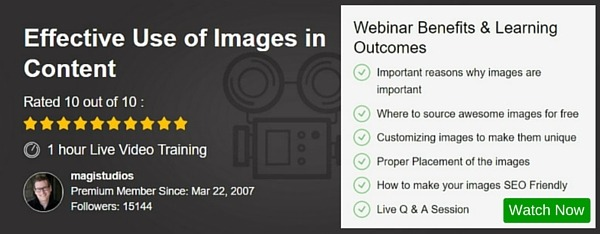 Webinar - Effective Use of Images in Content