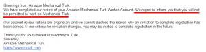 Application Denied from Amazon Mechanical Turk
