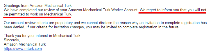 Application Denied by Amazon Mechanical Turk