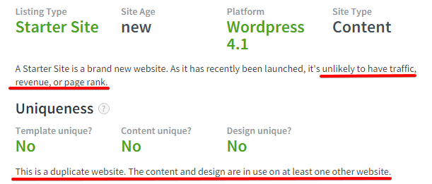 Example 1 - Starter Profile Site on Flippa
