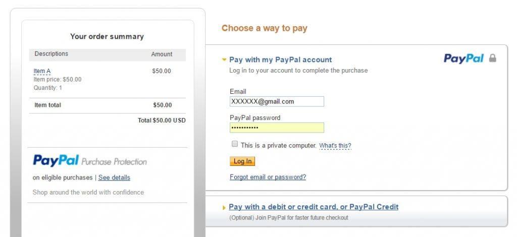 Standard PayPal Checkout Page