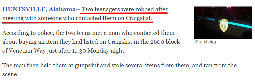 The Danger of Selling on Craigslist