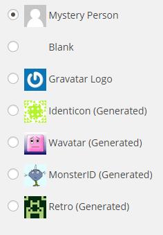 Examples of Default Gravatars