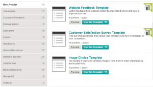 Examples of Survey Template from SurveyMonkey