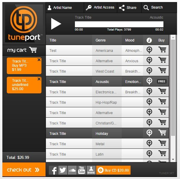 An Example of an Audio Store by TunePort