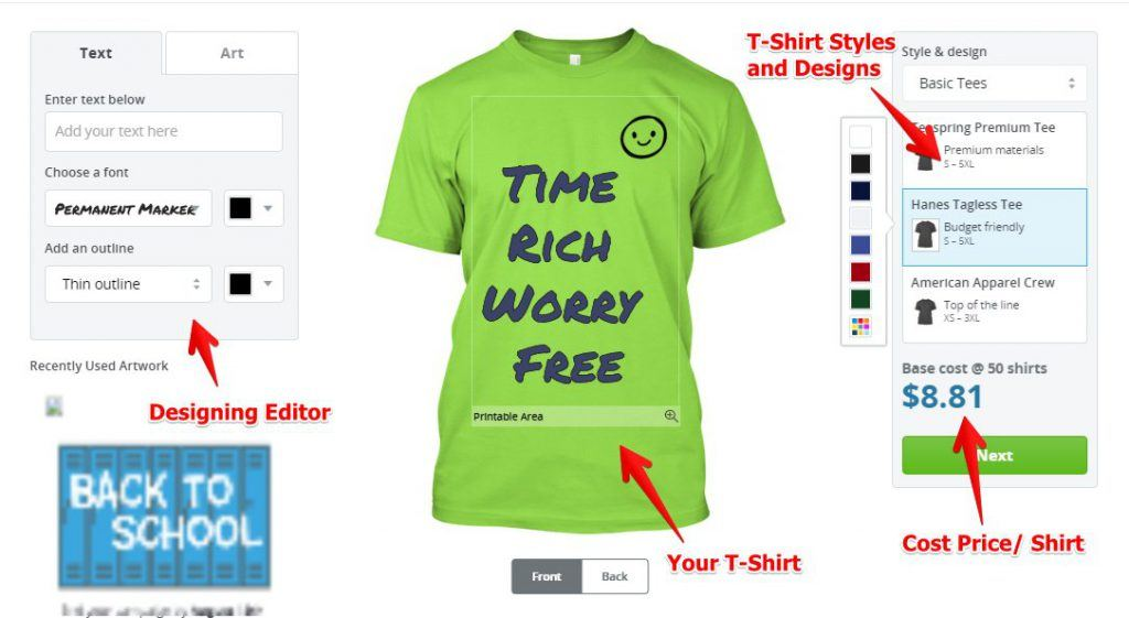 Make Money Selling T Shirts Online - Step 1