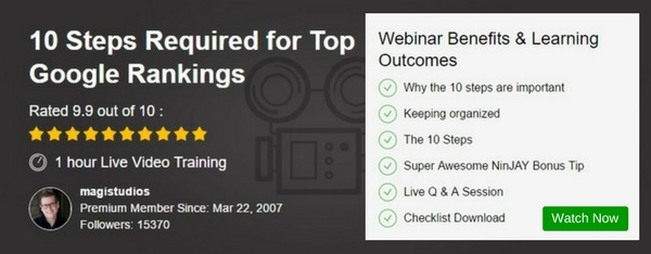 Webinar - 10 Steps Required for Top Google Rankings