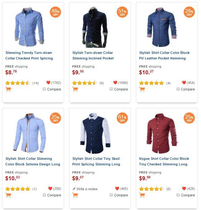 Typical Drop Shipping Site for Men's Clothings
