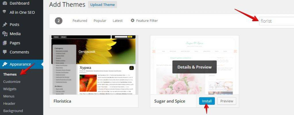 Free WordPress Themes for Florist Website