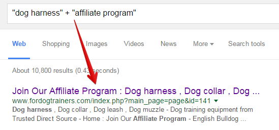 Google Search Result for Dog Harness Affiliate Programs