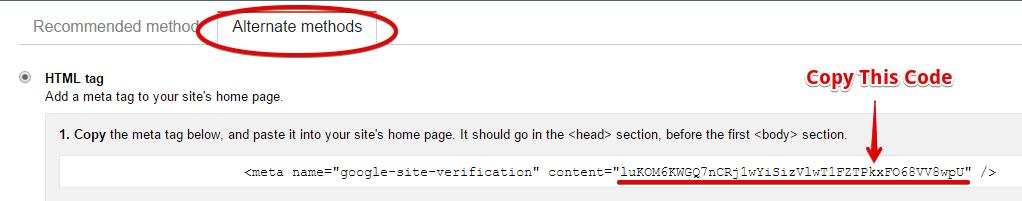 Google Verification for AIOSEO