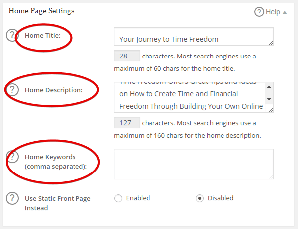 How to Set Up All In One SEO - Home Settings