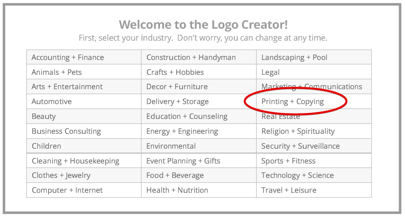 Select Your Industry on LogoGarden