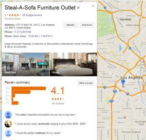 An Example of a Furniture Outlet Listing on Google
