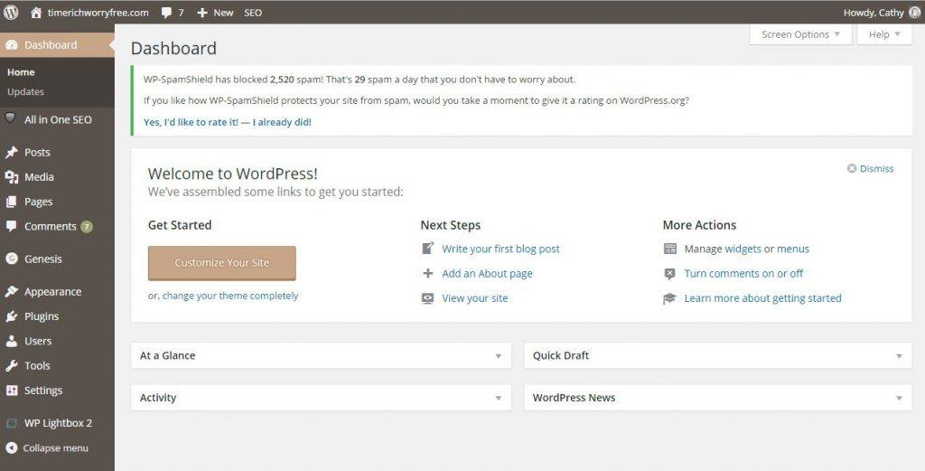 An Example of a WordPress Dashboard
