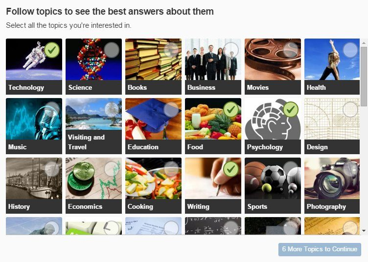 Select Topics to Follow on Quora