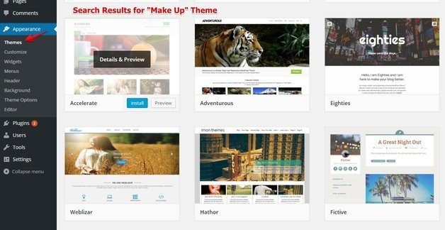 Make Up Themes on WordPress