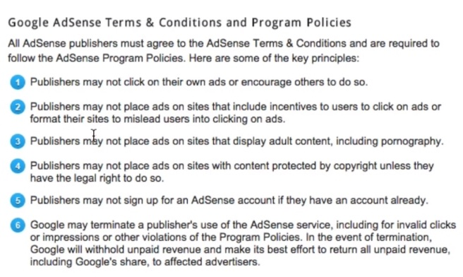 How to Start with Google Adsense - Terms and Conditions