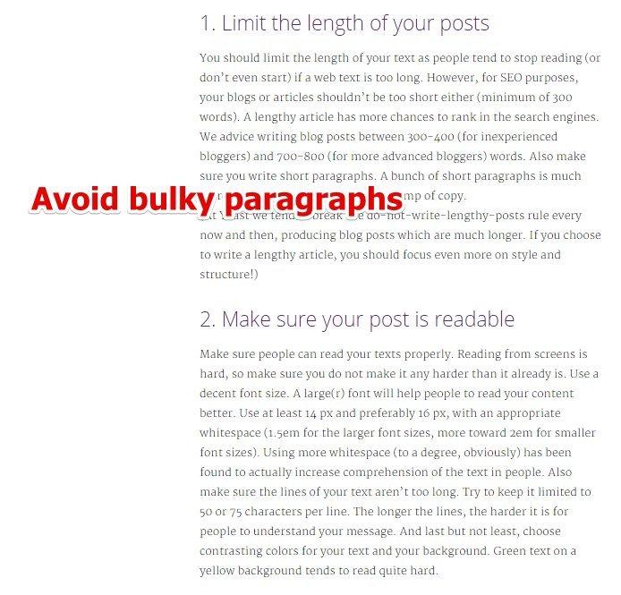 Bulky Paragraphs