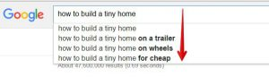 Google Suggest for Tiny Homes