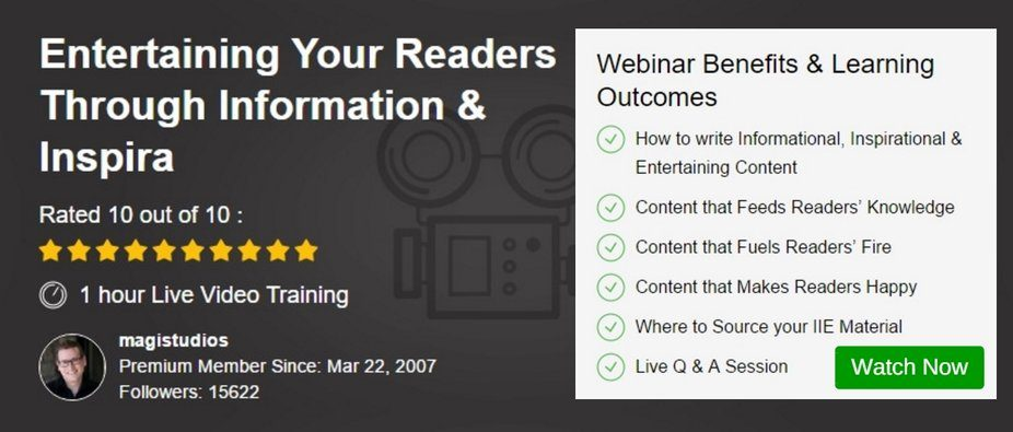 Webinar - Entertaining Your Readers Through Information and Inspiration