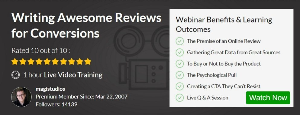 Webinar - Writing Awesome Reviews for Conversions