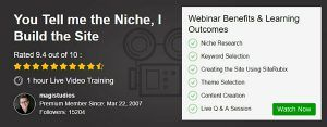Webinar - You Tell Me The Niche, I Build The Site