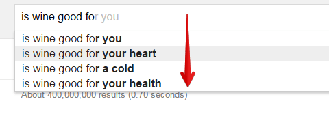 Google Suggest for Wine Health