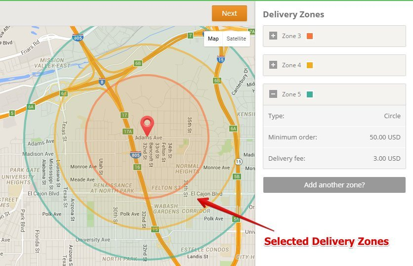 Setting GloriaFood Delivery Zones