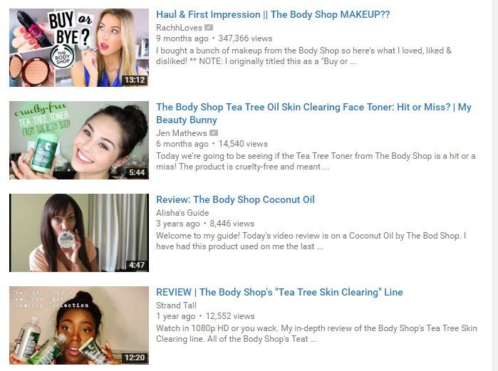 YouTubers Promoting Body Shop Products