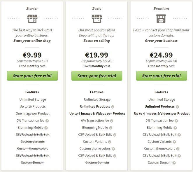 Blomming Pricing Plan