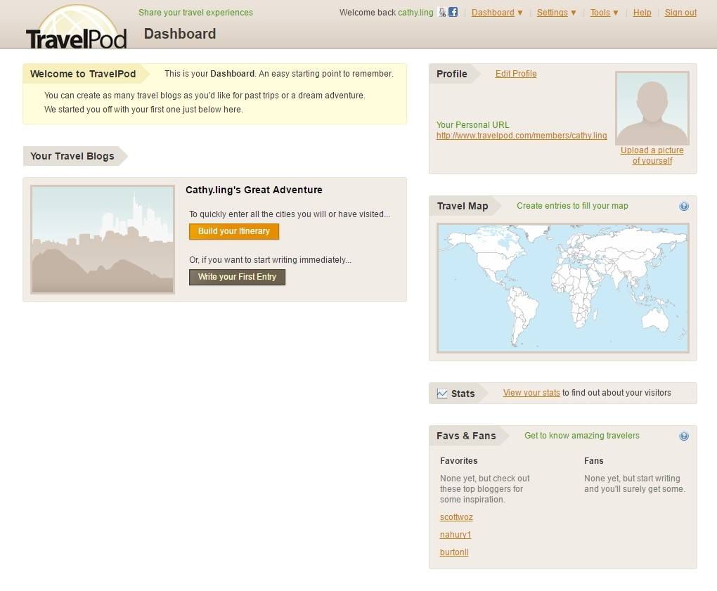 TravelPod User Dashboard