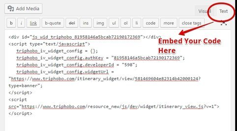 Embed Triphobo HTML code on blog