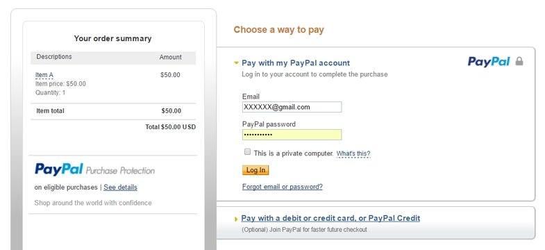 PayPal Checkout Page