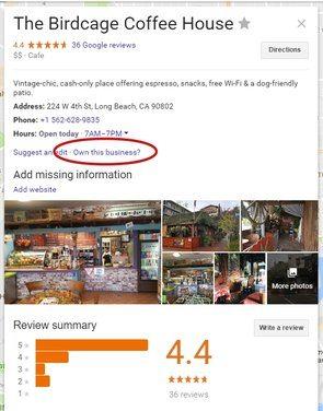 Coffee Shop Listing on Google