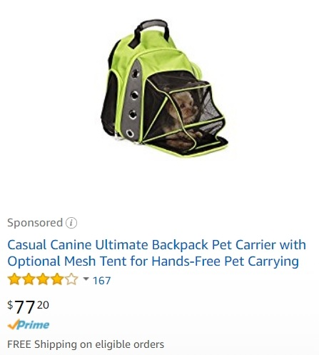 Backpack Pet Carrier on Amazon
