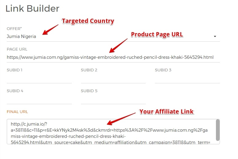 Link Builder for Jumia Affiliates