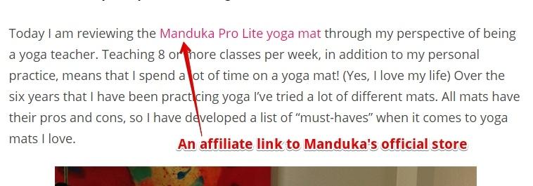 An affiliate link in a Yoga blog