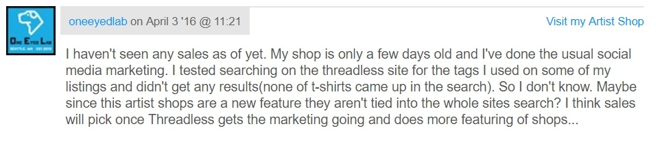 Threadless Seller's Feedback