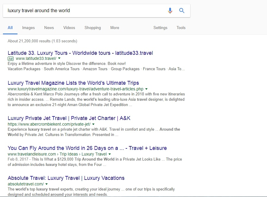 Google result for luxury travel around the world