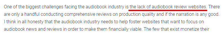 Lack of Audiobook websites
