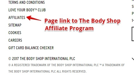 Link to The Body Shop affiliate program