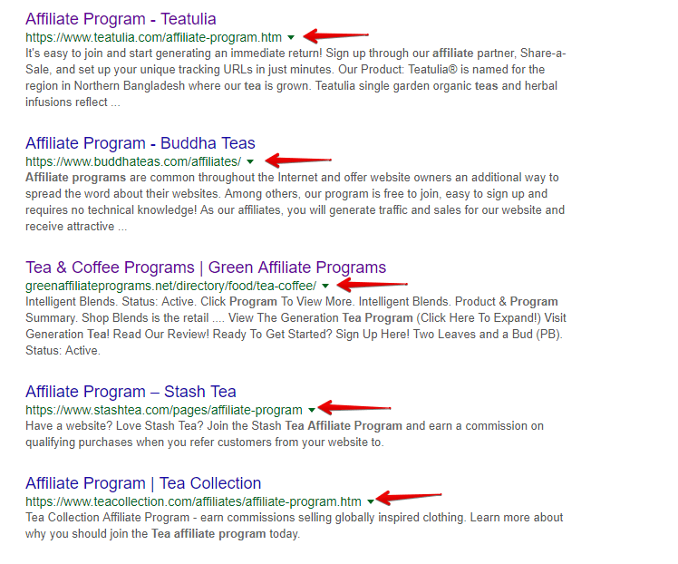 Tea Affiliate Programs on Google Search