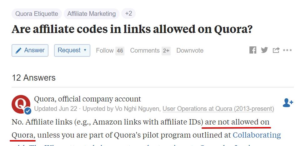 Quora Disallow Affiliate Links