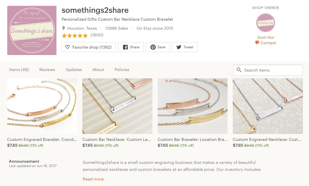 An Etsy Jewelry Shop
