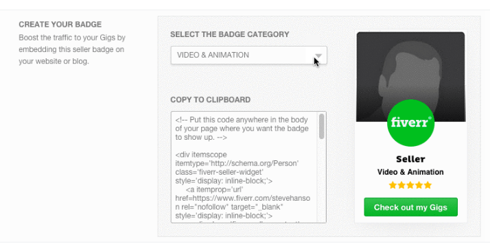 Embed Fiverr Badge on Your Blog