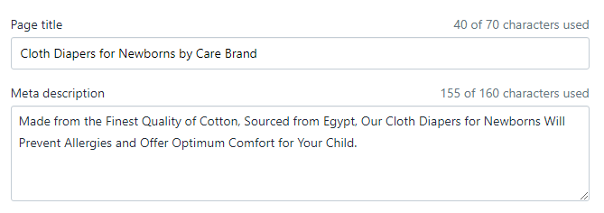 Example of Product Title and Description on Shopify